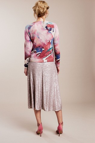Pure Collection Blue Cashmere Printed Cardigan