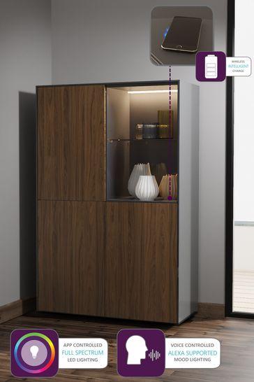 Frank Olsen Smart LED Grey and Walnut Display Cabinet