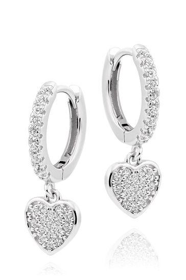 Beaverbrooks Cubic Zirconia Heart Hoops Earrings