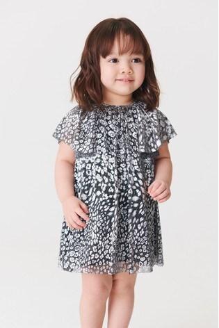Silver Animal Metallic Print Dress (3mths-7yrs)