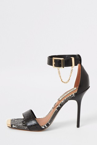 River Island Black Chain Barely There Sandals