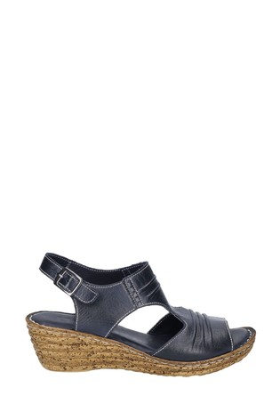 Fleet & Foster Blue Incence Pleated Leather Wedge Sandals