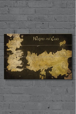 Pyramid International Game Of Thrones Westeros And Essos Antique Wooden Map