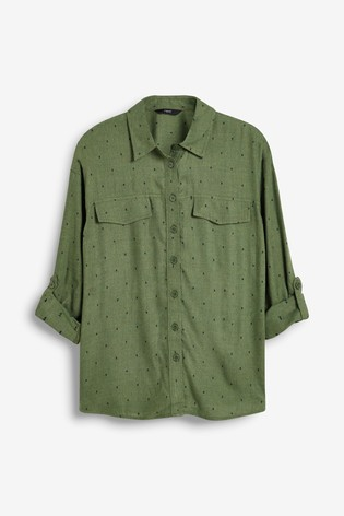 Khaki Dobby Utility Shirt
