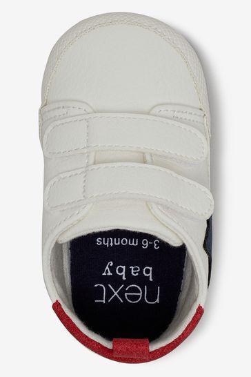 White Double Strap Star Pram Shoes (0-24mths)