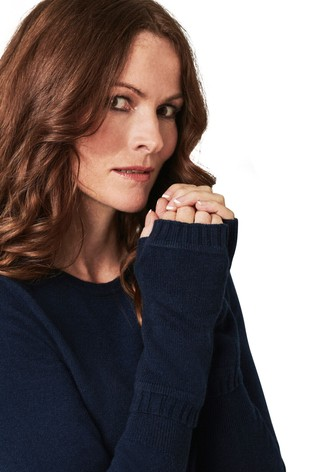 Pure Collection Blue Cashmere Mittens