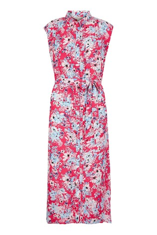 Monsoon Red Floral Print Sustainable Shirt Dress