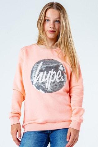 Hype. Kids Pink Sequin Crew Neck Sweater