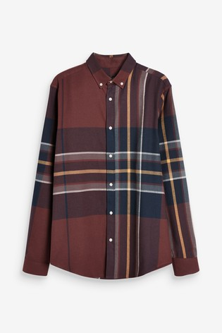 Burgundy Regular Fit Brushed Flannel Check Long Sleeve Shirt