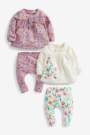 Lilac/Ecru Floral T-Shirt And Leggings 4 Piece Set (0mths-2yrs)