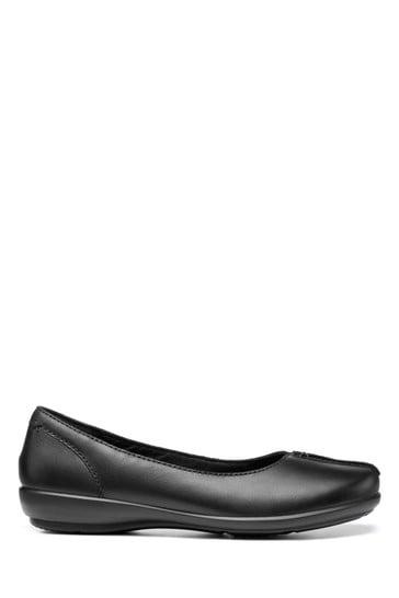 Hotter Black Robyn Wide Fit Slip-On Ballerina Shoes
