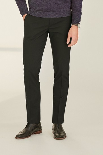Black Stretch Formal Trousers