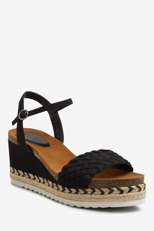 Black Weave Strap Cork Footbed Wedges