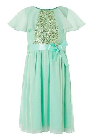 Monsoon Green Ellie Cape Sequin Dress