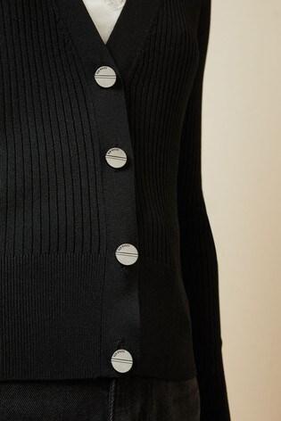 Ted Baker Black Raeyaa Button Front V-Neck Cardigan