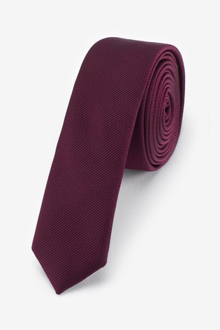 Burgundy Super Skinny Twill Tie