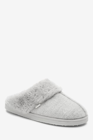 Grey Sparkle Mule Slippers