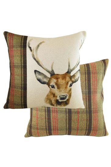 Hunter Stag Tartan Cushion by Evans Lichfield