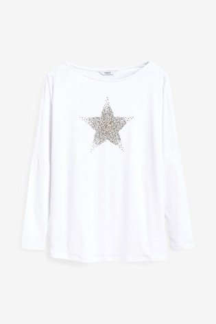 White Embellished Star Dolman Long Sleeve Top
