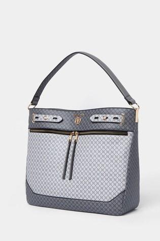 River Island Grey Monogram Zip Front Slouch Bag
