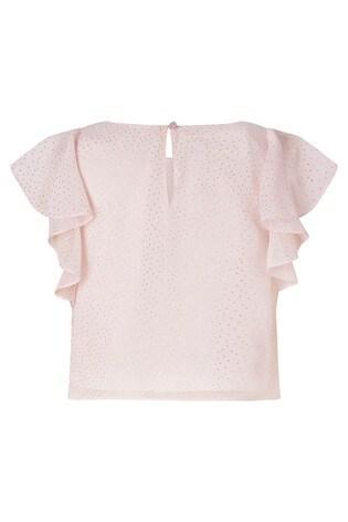 Monsoon Pink Metallic Top & Tiered Skirt