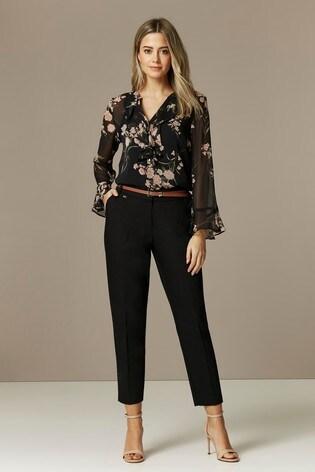 Wallis Black Cotton Belted Cigarette Trousers