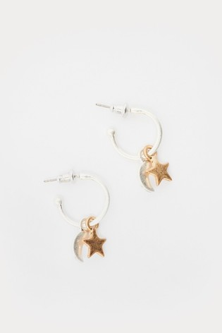 White Stuff Metallic Byo Hoop Charm Earrings