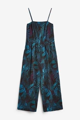 Black Palm Print Crinkle Bandeau Jumpsuit