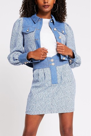 River Island Blue Cropped Bouclé Denim Mix Jacket