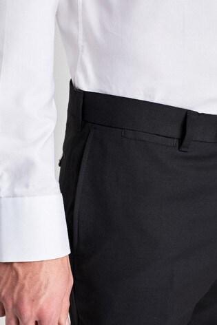 Black Slim Fit Wool Blend Textured Trousers