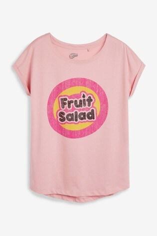 Pink Licence Fruit Salad Curved Hem T-Shirt