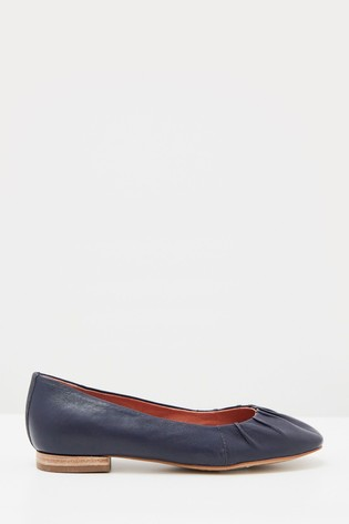 White Stuff Navy Ruched Leather Ballerina Shoes