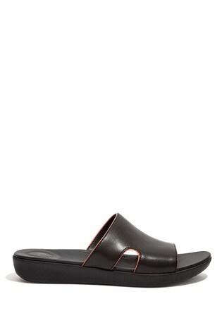 FitFlop Black H-Bar Pop-Binding Leather Slides