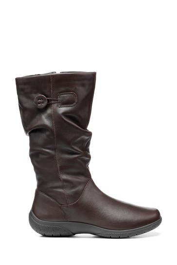 Hotter Brown Derrymore Extra Wide Fit Zip Fastening Calf Boots