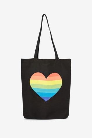 Rainbow Heart Reusable Canvas Bag-For-Life