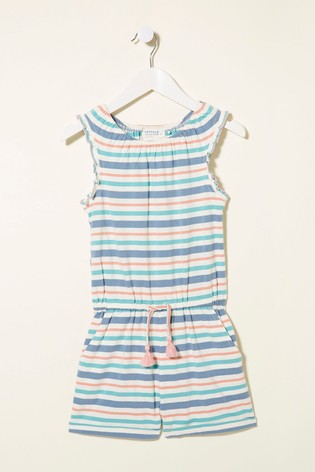 FatFace Blue Stripe Jersey Playsuit