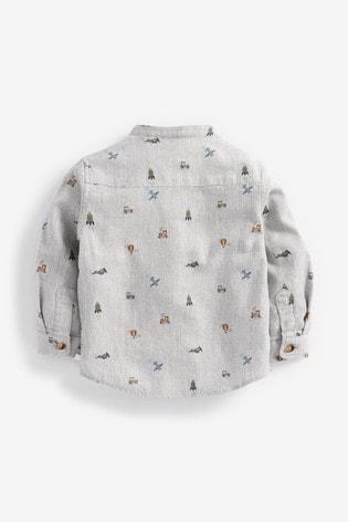 Grey Long Sleeve Long Sleeve Animal Print Grandad Shirt (3mths-7yrs)