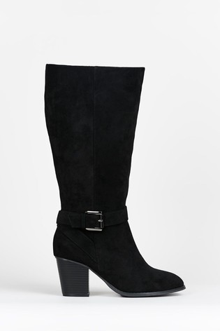 Evans Curve Extra Wide Fit Black High Heel Boots