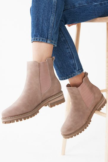 Pink Regular/Wide Fit Forever Comfort® Chunky Casual Chelsea Boots