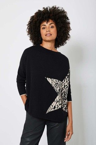 Mint Velvet Black Animal Star Front Jumper