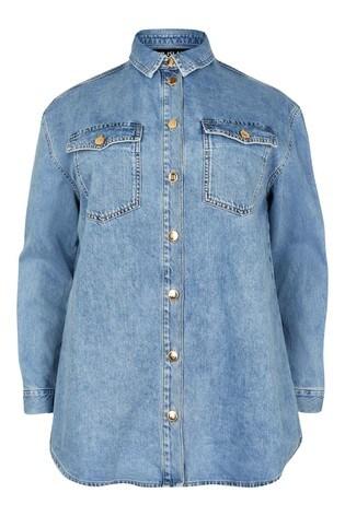 River Island Bright Blue Denim Shirt