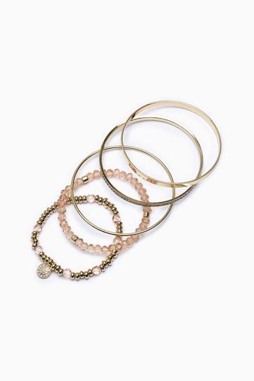 Gold Tone Sparkle Bead & Bangle Bracelet Pack
