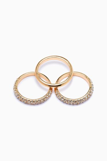 Gold Tone Pave Rings 3 Pack