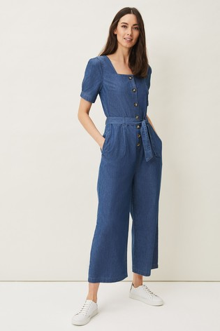 Phase Eight Blue Delilah Puff Sleeve Jumpsuit