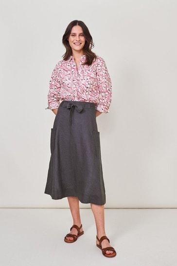 White Stuff Purple Ashley Linen Skirt