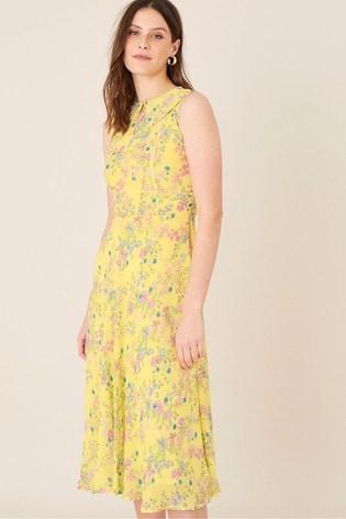 Monsoon Yellow Sylvie Printed Midi Dress