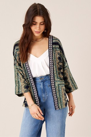 Monsoon Blue Holly Printed Kimono With Lenzing™ Ecovero™