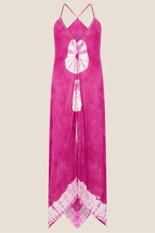 Monsoon Pink Kali Tie Dye Hanky Hem Dress
