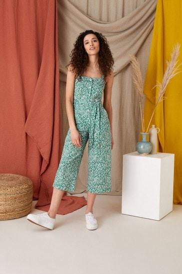 Monsoon Green Printed Jumpsuit In Linen Blend