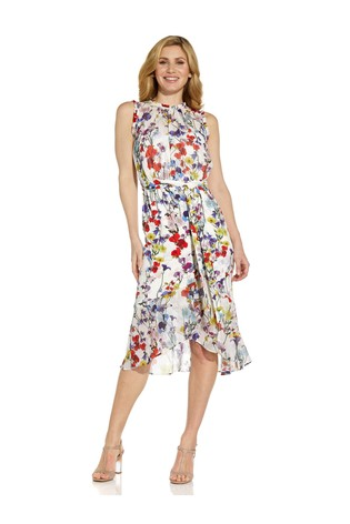 Adrianna Papell White Printed Mixed Fabric Dress